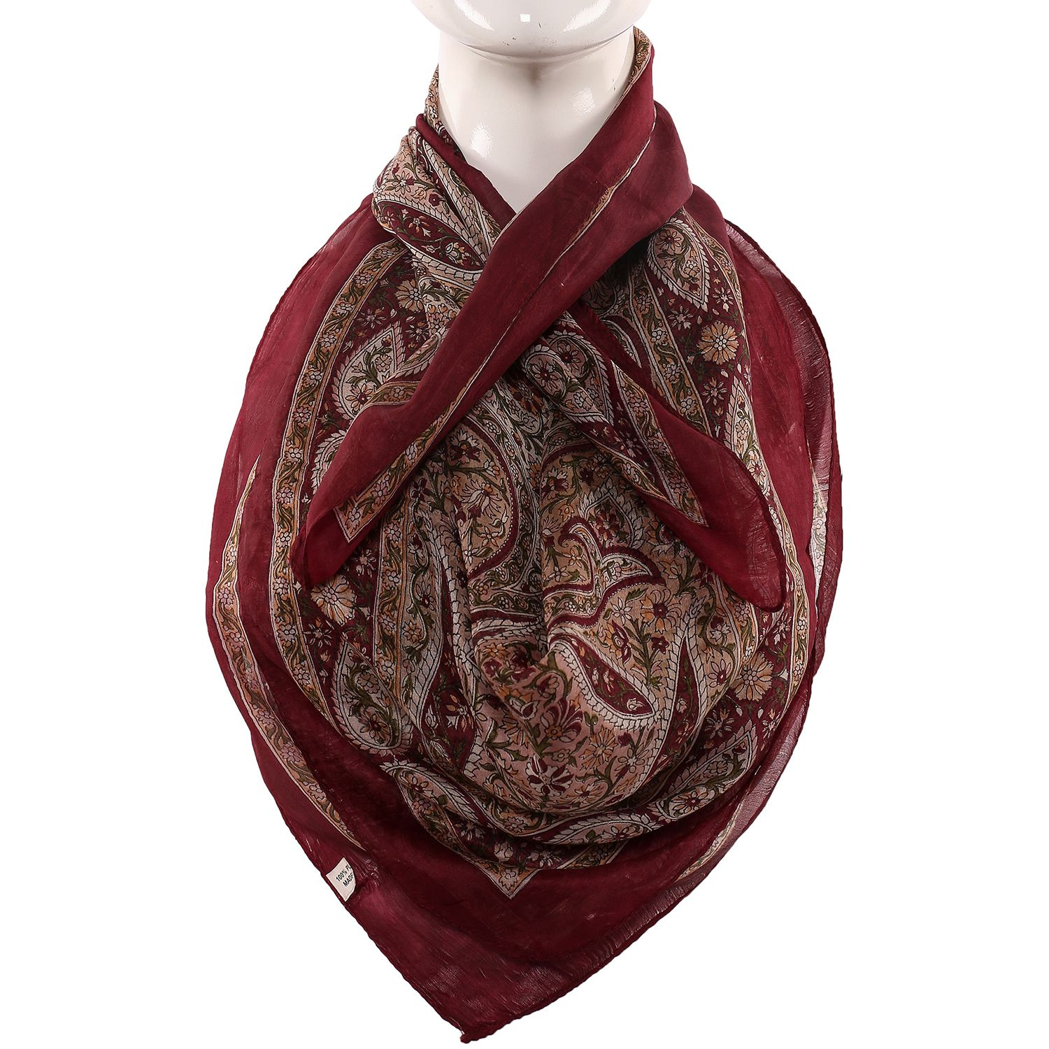 Silk Scarf  Dark Maroon With Cream Base Boota Print