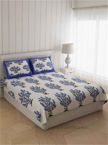 Blue Bushes On White Base Double Bedsheet
