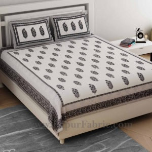 Ethnic Block Print Grey Double Bedsheet