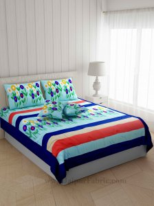 Ethnic Thread-work Flowery Blue Silk Double Bed Cover