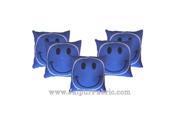 Jute Cushion Cover Digital Print Blue Smiley