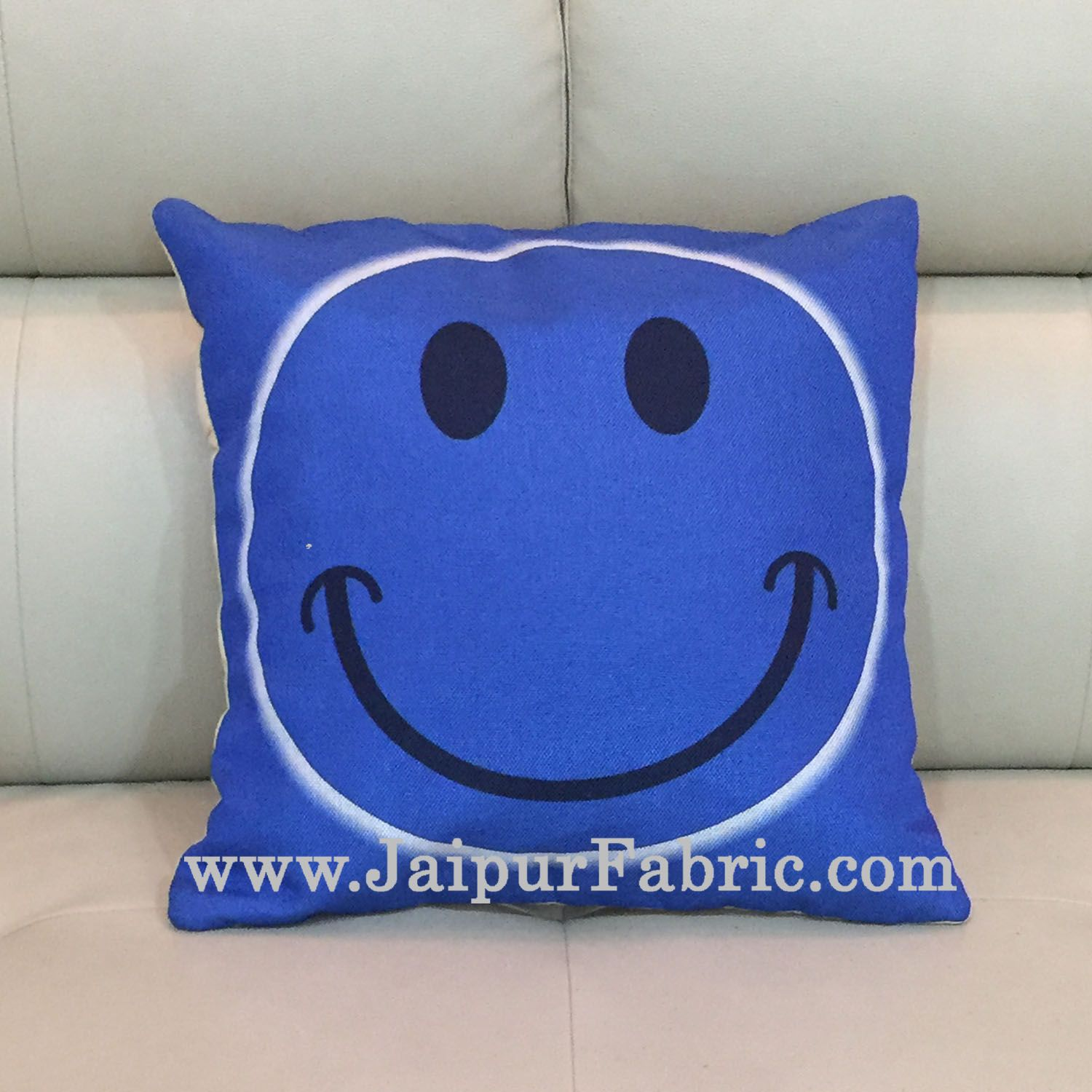 Jute Cushion Cover Digital Print Blue Smiley