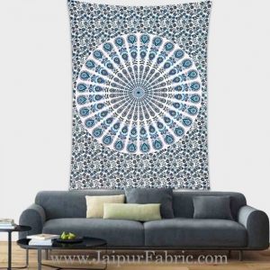Peacock Blue Mandala tapestry wall hanging and beach throw
