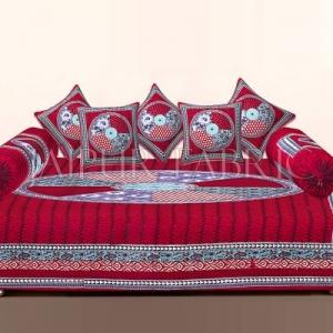 Red Jaipuri Tropical Print Cotton Diwan Set
