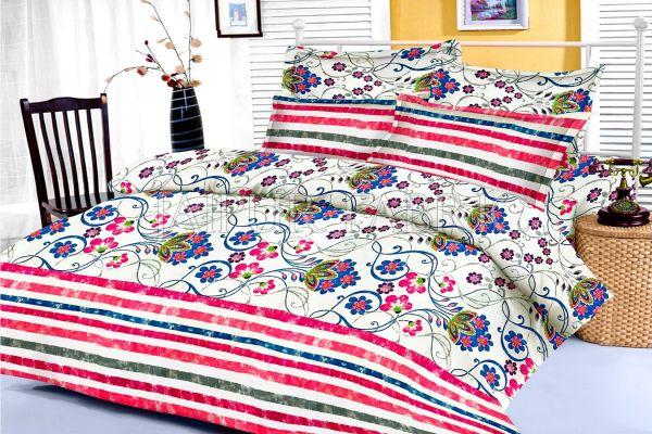 Pink Floral and Slanting Stripe Border King Size Cotton Bed Sheet