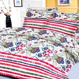 Pink Floral and Slanting Stripe Border King Size Cotton Bed Sheet