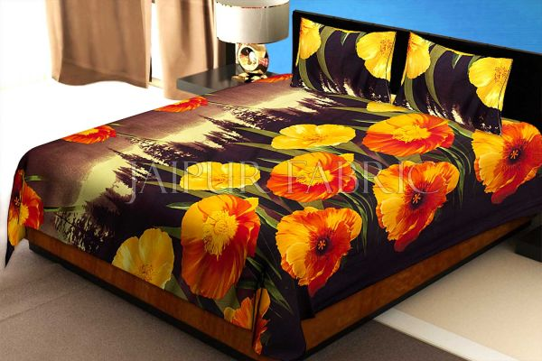 Yellow Floral Print Cotton Double Bed Sheet