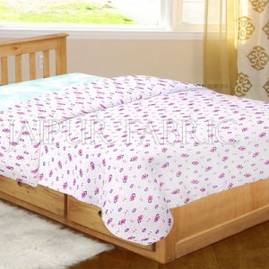 White Base Pink Floral Print Single Bed Dohar