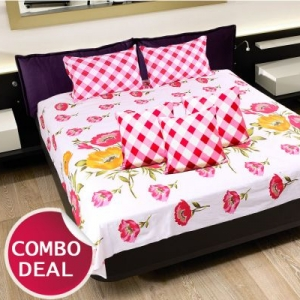 COMBO22 - Set Of Double Bed Sheet and 3 Cushion Covers