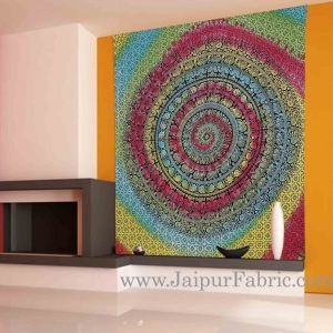 Multicolor Tie and Die Tapestry wall hanging and beach throw 95x85