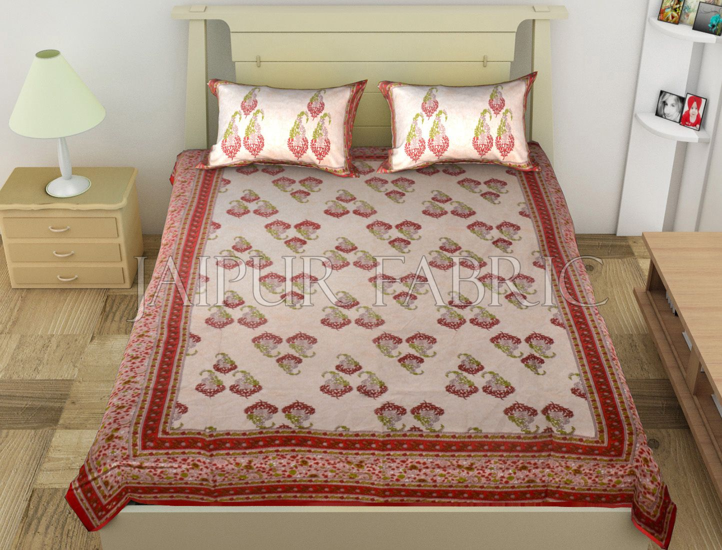 Red Border Boteh Printed Cotton Single Bed Sheet