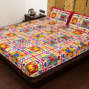Red Border Multi Color Cotton Double Bed Sheet