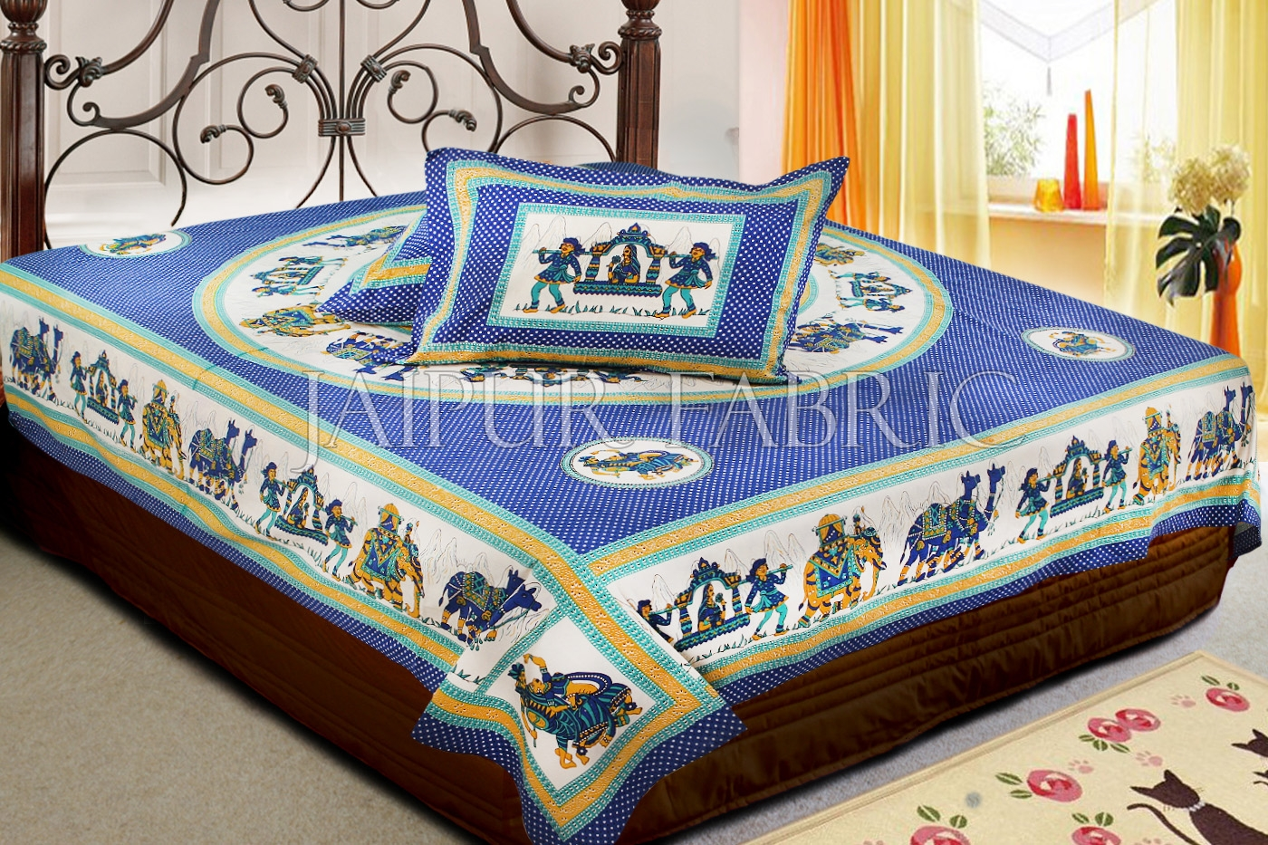 Blue Base Rajasthani Doli Hand Block Print And Folk dance Design Double Bed Sheet with Pillows Cover