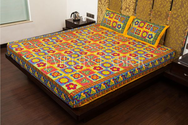 Beige Border Rangoli Print Multi Color Cotton Double Bed Sheet