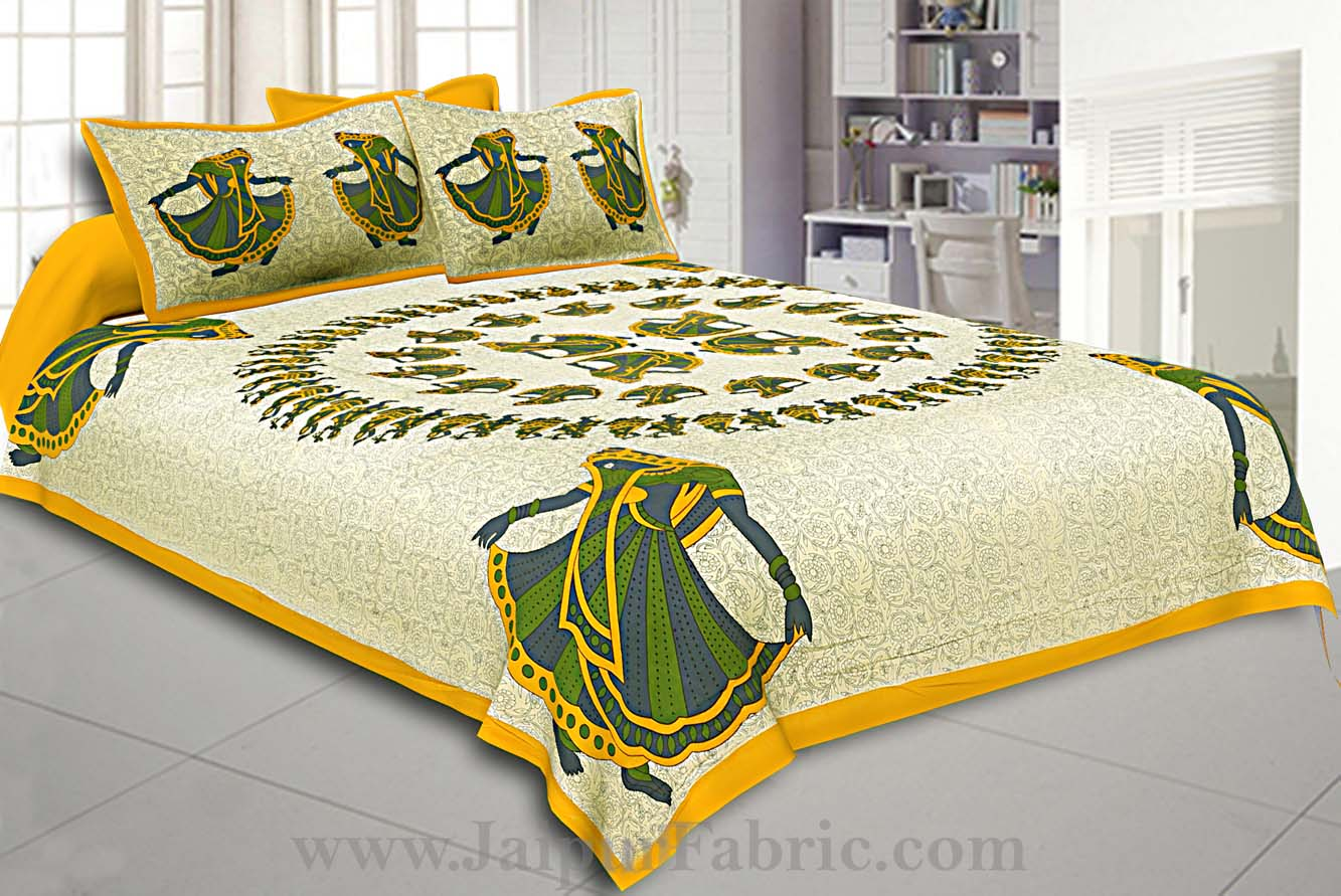 Double Bedsheet Yellow Rajasthani Gujri Dance Cotton