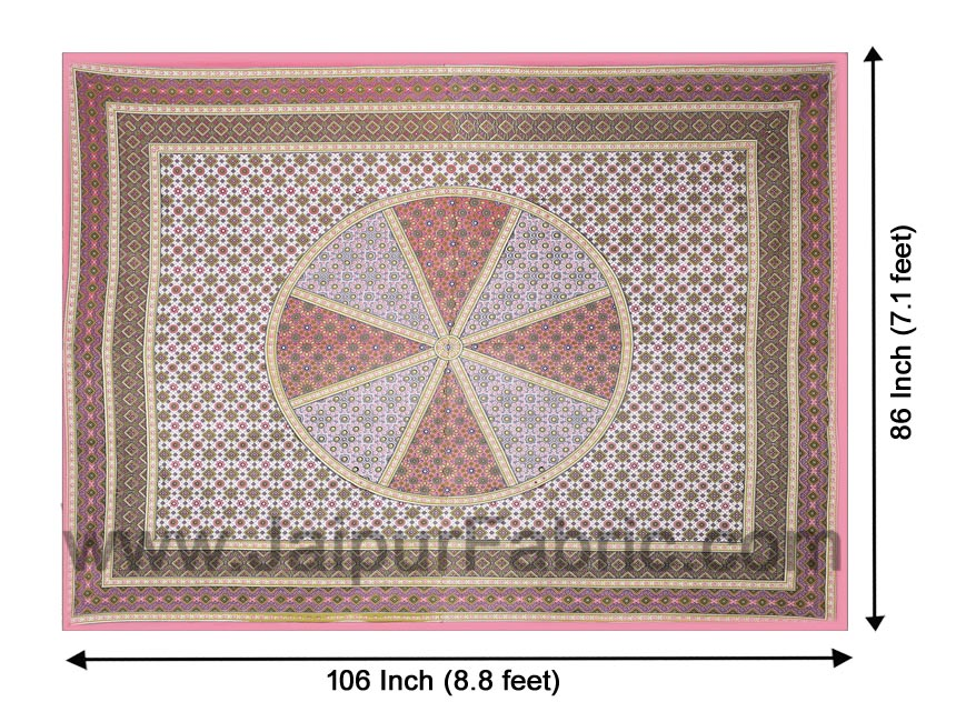 Sanganeri Double Bedsheet in Pretty Pink shade