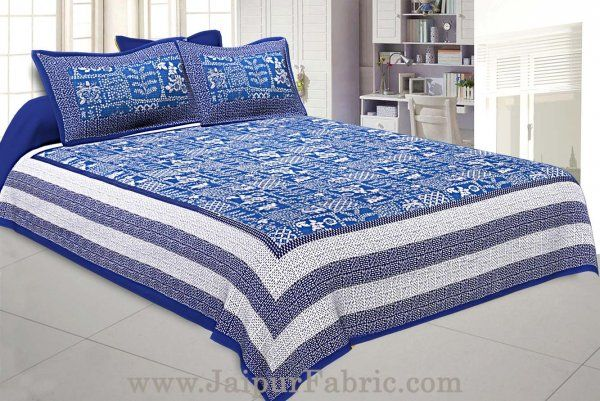 Wholesale Double Bedsheet Blue Border With Check Print Blue Base