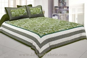 Wholesale Double Bedsheet Green Border With Check Print Green Base