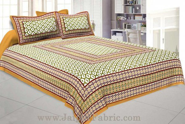 Wholesale Double Bedsheet Mustard Brown Border Rectangle Print