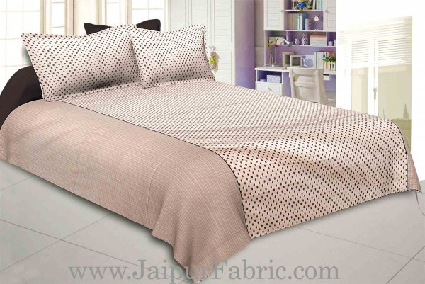 Polka Brown Double Bedsheet