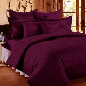 Purple Self Design 300 TC King Size Pure Cotton Satin Slumber Sheet for Double Bed with 2 pillow covers