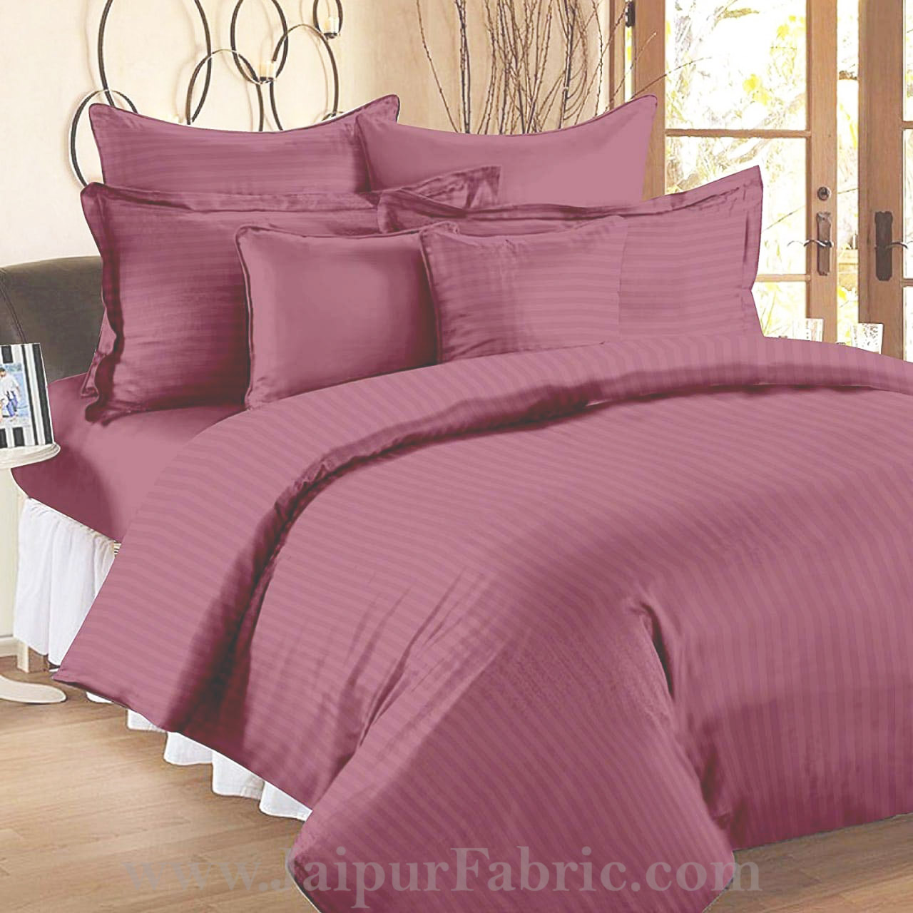 Thulian Pink Self Design 300 TC King Size Pure Cotton Satin Slumber Sheet for Double Bed with 2 pillow covers