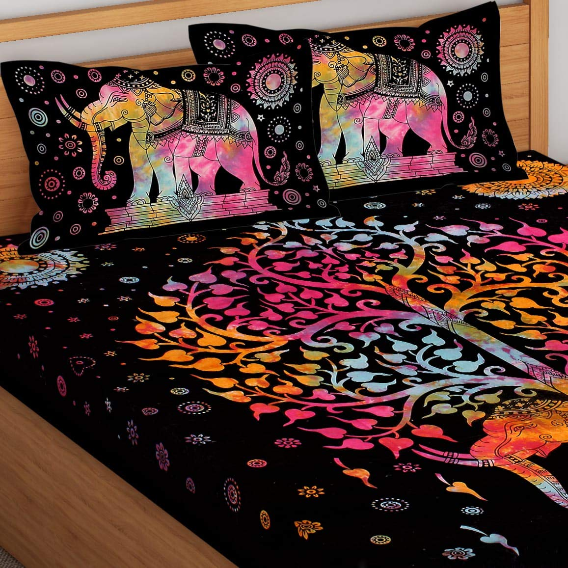 Tie And Dye  Big Elephant And Tree Pattern Cotton Double Bed sheet