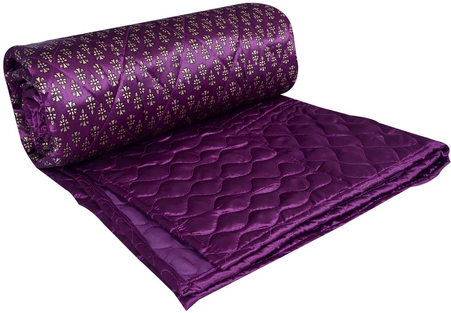 Purple Base Golden Floral Satin Silk Double Bed Quilt