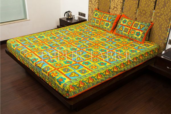 Orange Border Rangoli Print Multi Color Cotton Double Bed Sheet