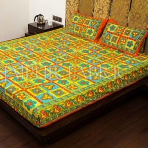 Orange Border Rangoli Print Multi Color Cotton Double Bed Sheet