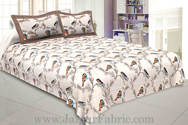 Pure Cotton 240 TC Double bedsheet indian bird print brown