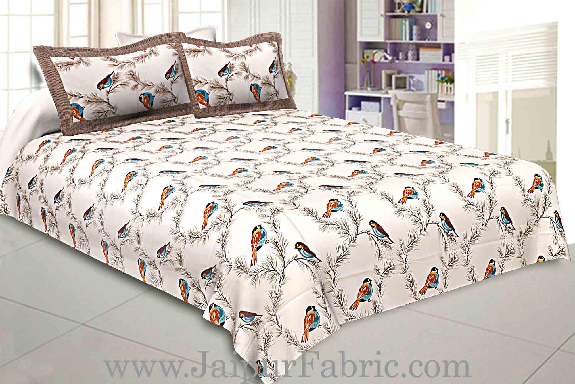 COMBO95- Set of 1 Double Bedsheet and  1 Single Bedsheet With  2+2 Pillow Cover