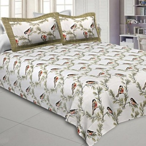 Pure Cotton 240 TC Double bedsheet indian bird print green