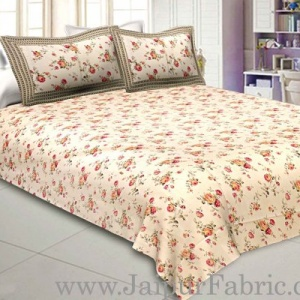 Pure Cotton 240 TC Double bedsheet in cream seamless floral print