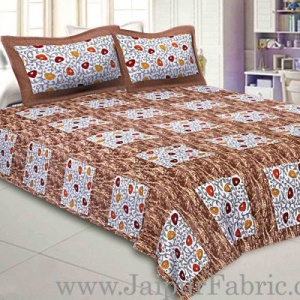 Pure Cotton 240 TC Double bedsheet in brown box floral pattern