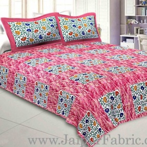Pure Cotton 240 TC Double bedsheet in pink box floral pattern