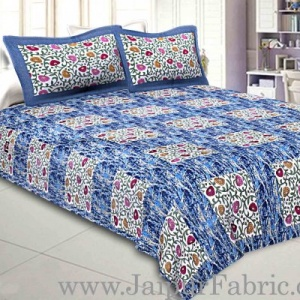 Pure Cotton 240 TC Double bedsheet in blue box floral pattern