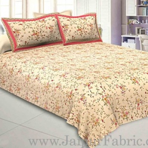 Pure Cotton 240 TC Double bedsheet cream floral motif print