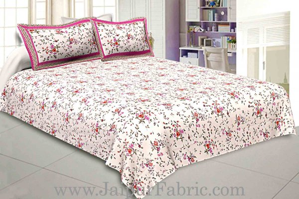 Pure Cotton 240 TC Double bedsheet in pink seamless floral print