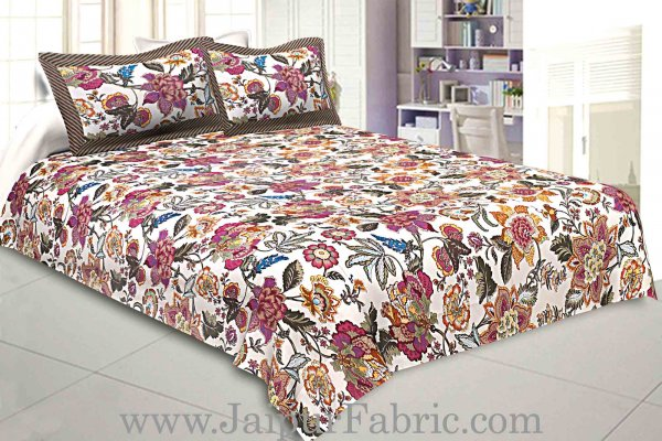 Pure Cotton 240 TC Double bedsheet autumn jungle
