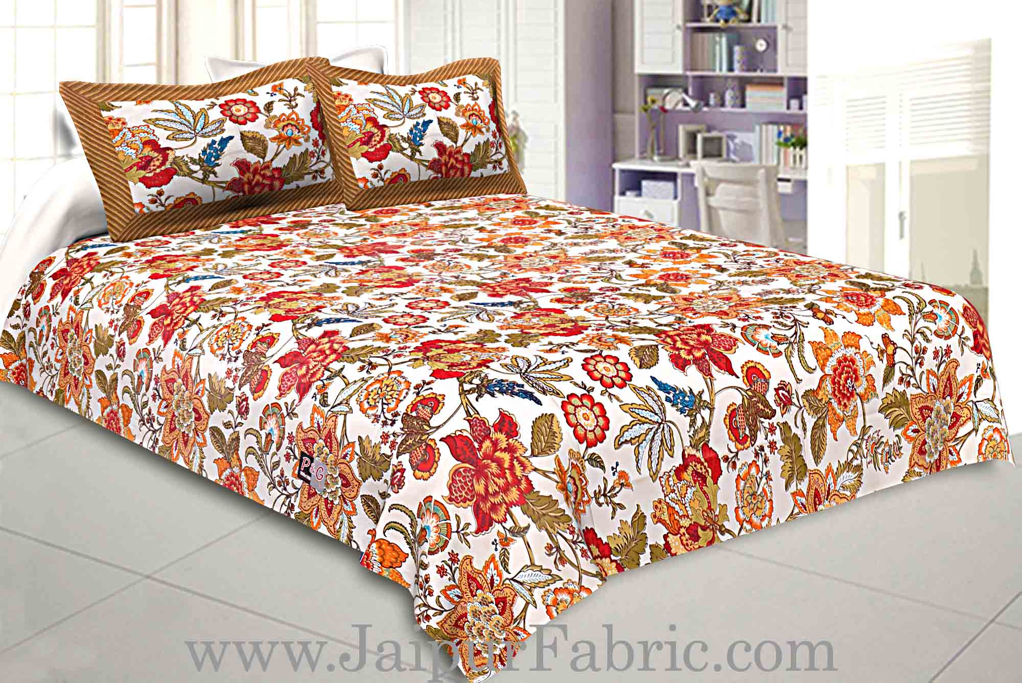 Pure Cotton 240 TC Double bedsheet spring jungle