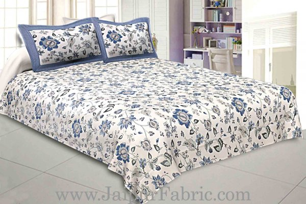 Pure Cotton 240 TC Double bedsheet in blueish floral pattern