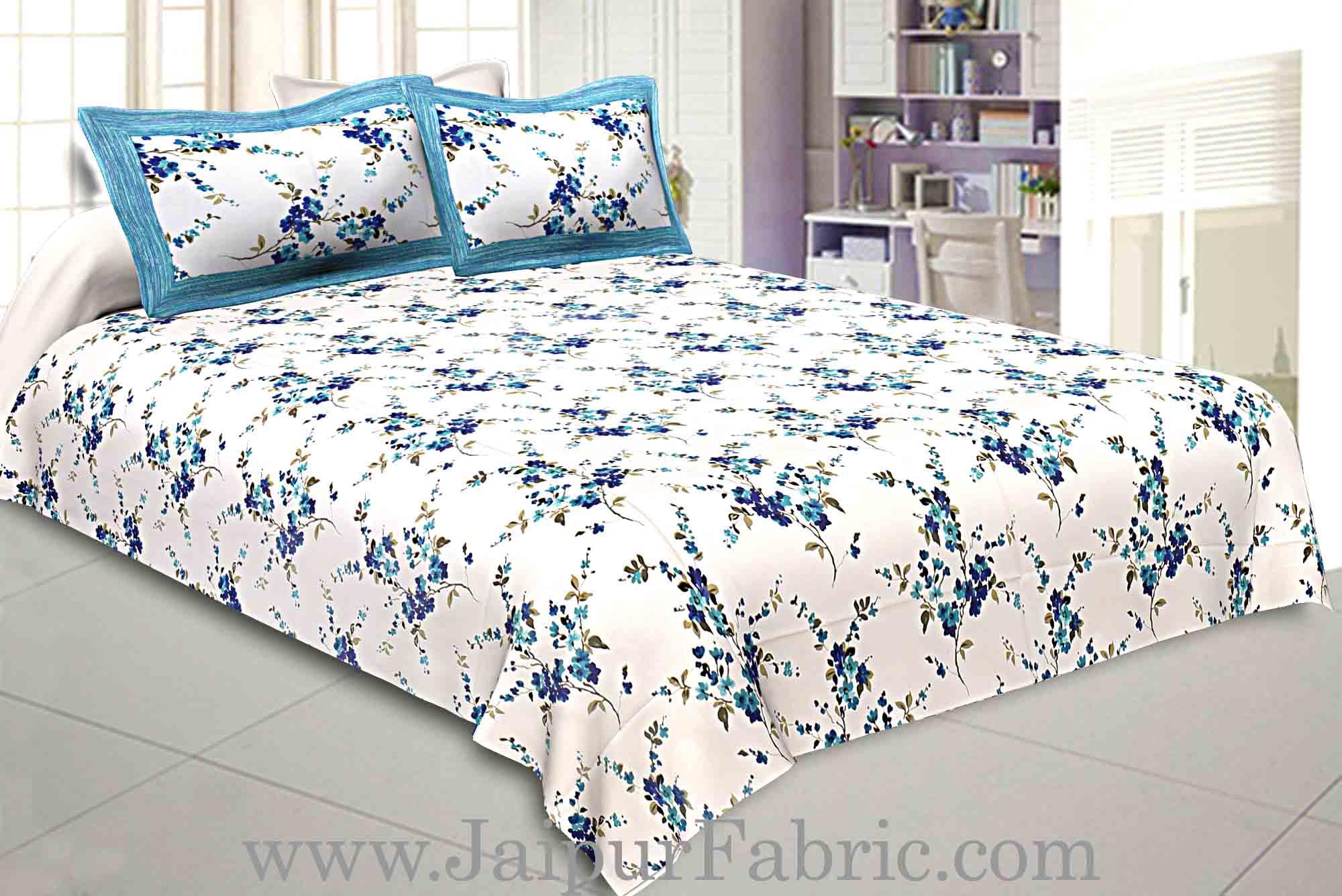 Pure Cotton 240 Tc Double Bedsheet In Blue Motif Floral Print