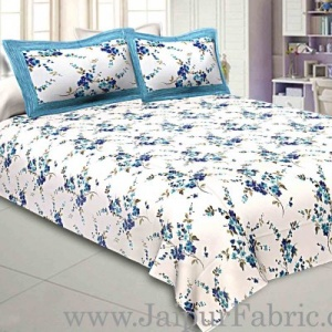 Pure Cotton 240 TC Double bedsheet in blue motif floral print