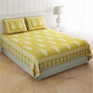 Peerless Paisley On Lemon Yellow Double Bedsheet