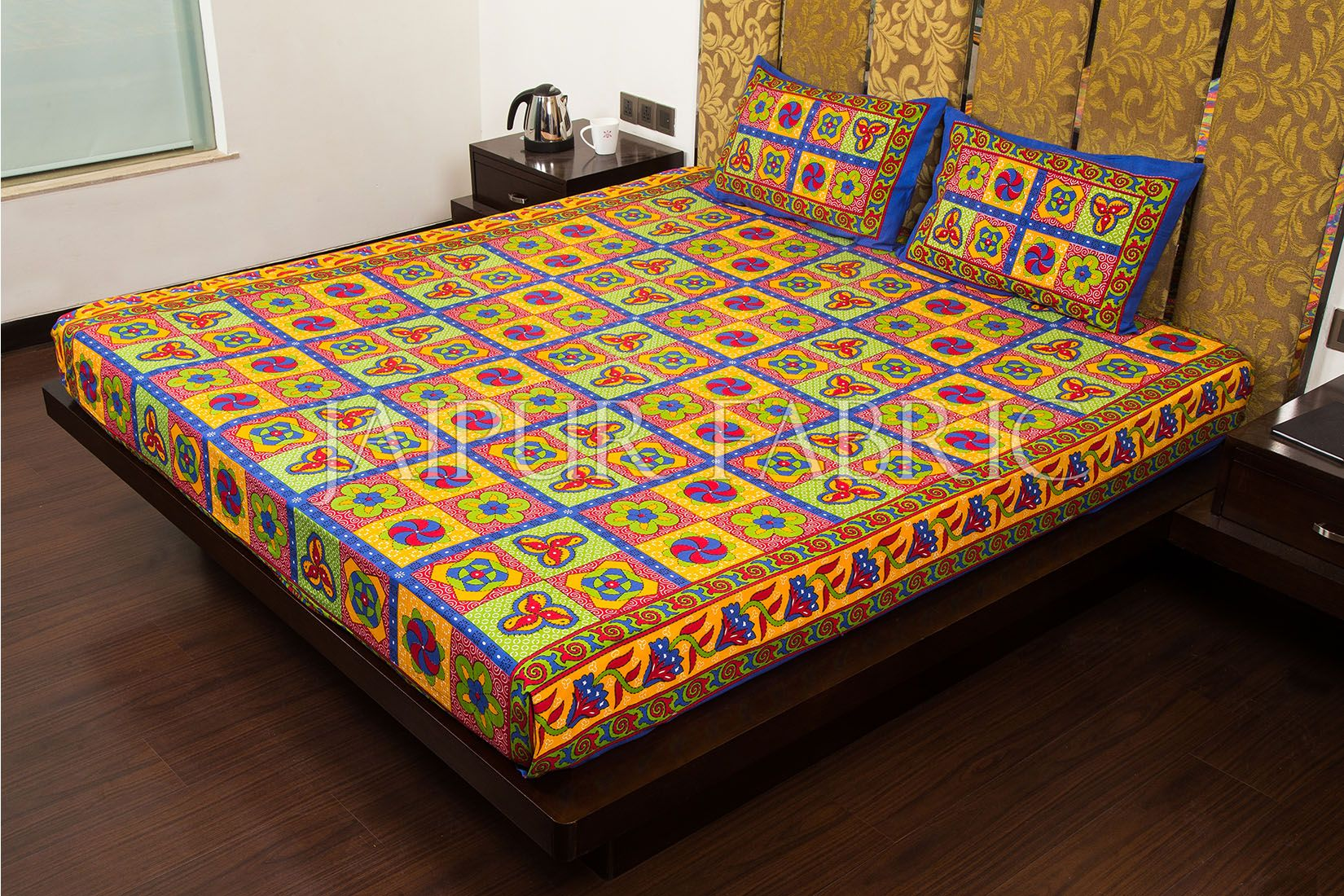 Blue Border Rangoli Print Multi Color Cotton Double Bed Sheet