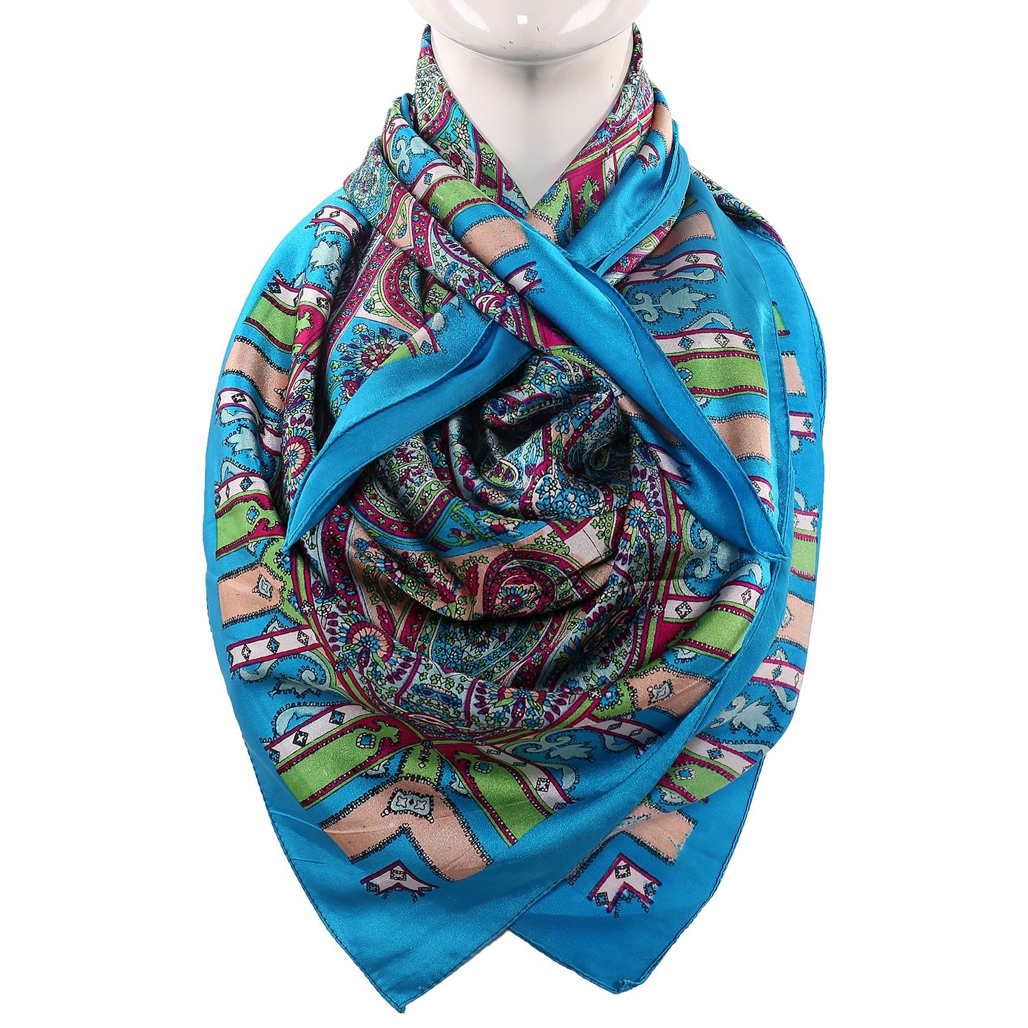 Silk Scarf Firozi Color Paisley Print