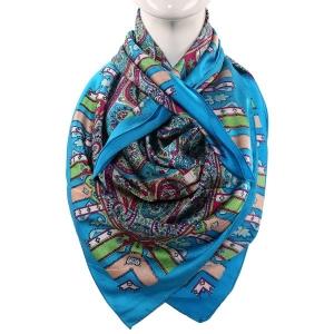 Silk Scarf Firozi Color Paisley Print