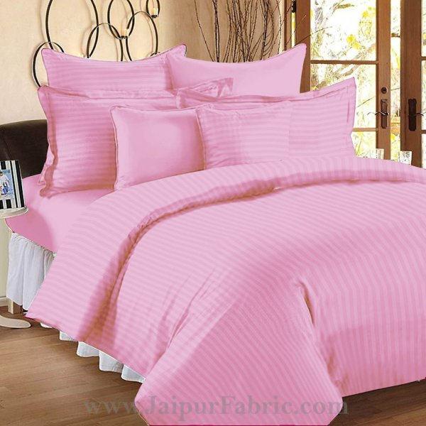Light Pink Self Design 300 TC King Size Pure Cotton Satin Slumber Sheet for Double Bed with 2 pillow covers
