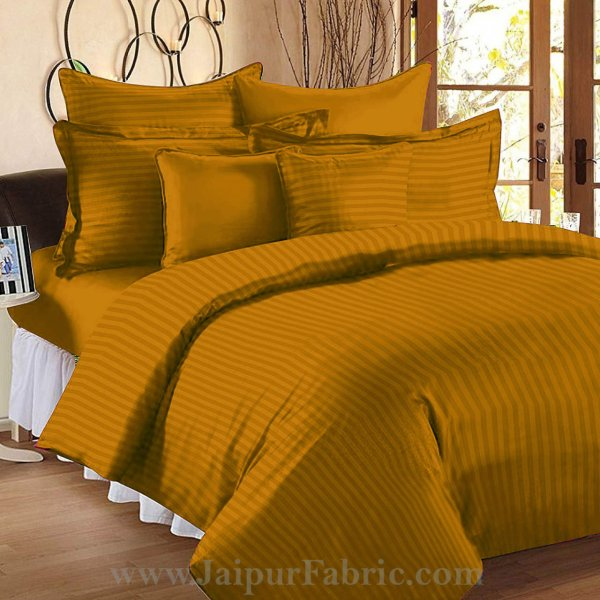 Mustard Gold Self Design 300 TC King Size Pure Cotton Satin Slumber Sheet for Double Bed with 2 pillow covers